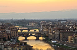 Santa Maria del Fiore and Arno River of Florence Royalty Free Stock Image