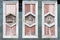 Santa Maria del Fiore cathedral, Florence, Italy. Bass-relief detail at facade of Doumo Santa Maria del Fiore, Florence, Italy Stock Photo