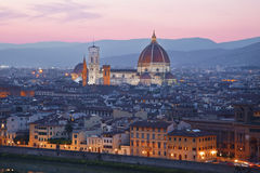 Santa Maria del Fiore, the Florence at sunset Royalty Free Stock Images