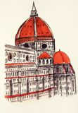 Santa Maria del Fiore in Florence. Watercolor painting of the Basilica of Santa Maria del Fiore in Florence, Italy. City sketch Royalty Free Stock Photo