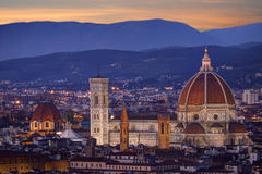 Santa Maria Del Fiore przy nocą, Florencja Obraz Stock