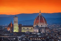 Santa Maria del Fiore & Sunset. Photo of the the Santa Maria del Fiore Cathedral at the sunset time stock photos