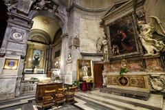 Santa Maria del Popolo Church. Right aisle. Rome. Italy. The right aisle of church of Santa Maria del Popolo in Piazza del Popolo in Rome, Italy. Some bench for Royalty Free Stock Photos