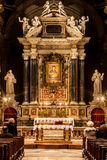 Santa Maria del Popolo Church. Rome. Italy. Worshipers and altar Stock Photo