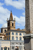 Santa Maria del Popolo in Rome. View of the dome and the bell tower of the church of Santa Maria del Popolo in Rome. In the foreground you can see the obelisk of stock images
