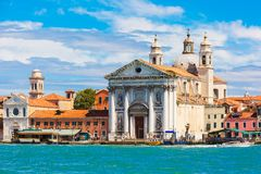 Santa Maria del Rosario in Venice, Italia. View from the sea to Dominican church Il Gesuati or Santa Maria del Rosario in the Sestiere of Dorsoduro, on the Royalty Free Stock Photos
