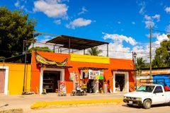 Achitecture of Oaxaca. SANTA MARIA DEL TULE, MEXICO - OCT 31, 2016: Architecture of Santa Maria del Tule, Mexico, Valles Centrales region. The name comes from royalty free stock photo