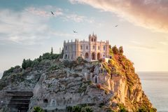 Santa Maria dell`Isola at sunset - Tropea, Calabria, Italy Stock Photos