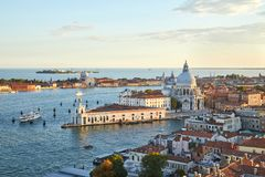 Santa Maria della Salute church aerial view in Venice, Italy. Santa Maria della Salute church aerial view in Venice with punta della Dogana before sunset, Italy Royalty Free Stock Images