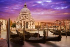 Santa Maria della Salute with gondolas Royalty Free Stock Images