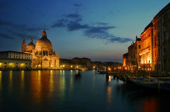 Santa Maria della Salute and Grand Canal at sunset Stock Photos
