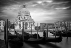 Santa Maria della Salute met gondels in Venetië Stock Afbeeldingen