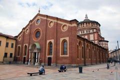 Santa Maria delleGrazie kyrka i Milan Arkivfoton