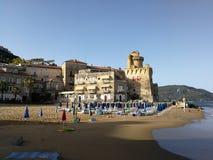 Santa Maria di Castellabate - Marina Piccola beach. Santa Maria di Castellabate, Salerno, Campania, Italy - July 1, 2017: the beach of Marina Piccola from Royalty Free Stock Images
