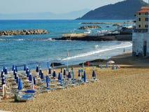 Santa Maria di Castellabate - View of the Marina Piccola beach. Santa Maria di Castellabate, Salerno, Campania, Italy - July 1, 2017: the beach of Marina Piccola Stock Photo
