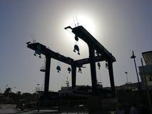 Santa Maria di Castellabate - Werfte in der Hintergrundbeleuchtung Lizenzfreie Stockbilder
