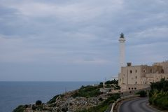 Santa Maria di Leuca, Italy. Photograph taken from the road of the iconic lighthouse located next to Basilica De Finibus Terrae royalty free stock photo