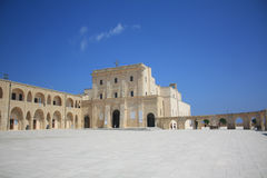 Santa Maria di Leuca. A large Sanctuary, or Basilica, De Finibus Terrae (End of the Land, 1720-1755), built to commemorate the passage of St Peter here during Royalty Free Stock Photo