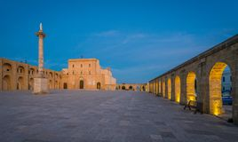 Santa Maria di Leuca Sanctuary in the evening, province of Lecce, Puglia, southern Italy. royalty free stock photography