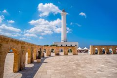 Santa Maria di Leuca white lighthouse - Lecce - Salento Apulia - - Italy. Santa Maria di Leuca white lighthouse - Lecce province in Salento - Apulia region stock photography