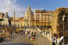 SANTA MARIA DI LORETO CHURCH AND TRAJAN`S COLUMN, ROME`S HISTORIC CENTER, ITALY. Stock Photography