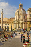 SANTA MARIA DI LORETO CHURCH AND TRAJAN`S COLUMN, ROME`S HISTORIC CENTER, ITALY. Stock Photo