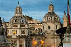Santa Maria di Loreto en de Kerk van de Heiligste Naam van Mary bij het Trajan-Forum Royalty-vrije Stock Afbeelding