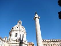 Santa Maria Di Loreto kościół i Trajan kolumna Zdjęcie Royalty Free