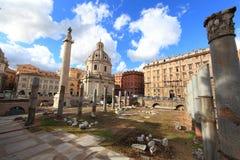 Santa Maria di Loreto. Traian column and Santa Maria di Loreto in Rome, Italy royalty free stock photo