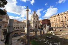 Santa Maria di Loreto. Traian column and Santa Maria di Loreto in Rome, Italy stock photography