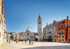 The Santa Maria Formosa on square of the same name, Venice. The Church of Santa Maria Formosa on square of the same name in Venice, Italy. View of bell-tower and royalty free stock image