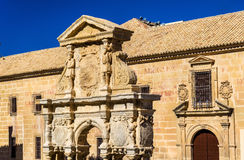 Santa Maria Fountain and Felipe Neri Seminary in Baeza, Spain. Santa Maria Fountain and Felipe Neri Seminary in Baeza - Spain, Andalusia Royalty Free Stock Photography