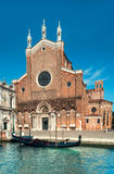 Santa Maria Gloriosa dei Frari at Venice. Italy, view from across the water. This image is toned Royalty Free Stock Image