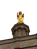 Santa maria. Golden statue of mother mary Stock Image