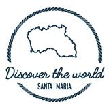 Santa Maria Island Map Outline. Vintage Discover the World Rubber Stamp with Island Map. Hipster Style Nautical Insignia, with Round Rope Border. Travel Vector Stock Images