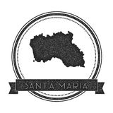 Santa Maria Island map stamp. Retro distressed insignia. Hipster round badge with text banner. Island vector illustration Stock Photo