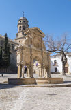 Santa Maria kvadrerar, den Santa Maria springbrunnen, den Baeza domkyrkan, Jaen, Fotografering för Bildbyråer
