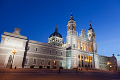 Santa Maria la Real de La Almudena in night Stock Image
