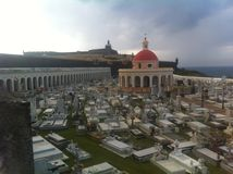 Santa Maria Magdalena de Pazzis Cemetery. The Santa Maria Magdalena de Pazzis Cemetery in Old San Juan in Puerto Rico with El Morro Fort on the background Stock Images