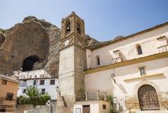 Santa Maria Magdalena-kerk in Los Fayos dorp, provincie van Zaragoza, Spanje Royalty-vrije Stock Foto's