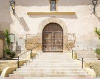 Santa Maria Magdalena-kerk in Los Fayos dorp, provincie van Zaragoza, Spanje Stock Afbeeldingen