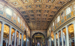 Santa Maria Maggiore Basilica in Rome. ROME, ITALY - JULY 11, 2015: Interiors of Basilica of St. Mary Major features beautiful and old mosaics. The decorated Royalty Free Stock Photo