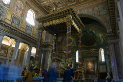 Santa Maria Maggiore interior in Rome. ROME, ITALY - APRIL 9, 2015:  Interior of the church of Santa Maria Maggiore, Detail of the baroque Ciborium Royalty Free Stock Photos