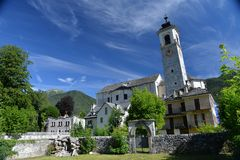 Santa Maria Maggiore main church, Valle Vigezzo, Italy. Old buildings, main church, bell tower and stone roof in Santa Maria Maggiore Vigezzo Valley, Italian stock image