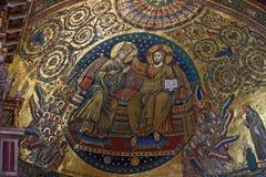 Santa Maria Maggiore papal basilica Rome. Coronation of Virgin Mary romanesque mosaic from papal basilica Santa Maria Maggiore Rome royalty free stock photography