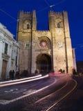 Santa Maria Maior de Lisboa at dusk royalty free stock photography