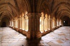 Santa Maria Monastery Cloister. Romanesque cloister of Monastery of Santa María in Aguilar de Campoo , Palencia , Spain Royalty Free Stock Images