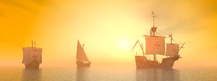 Santa Maria, Niña and Pinta of Christopher Columbus Stock Photography