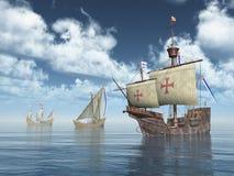 Santa Maria, Nina and Pinta of Christopher Columbus royalty free illustration
