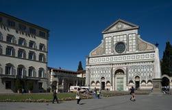 Church S. Maria Novella in Florence. Santa Maria Novella church and square with tourist, Florence, Italy royalty free stock image